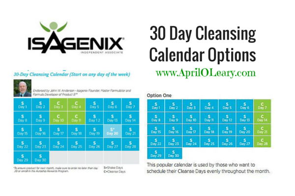 30 Day Cleansing Calendar Options